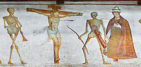 Crucifiction fresco on the Church of San Vigilio in Pinzolo, part of its mural painting &ldquo;the Dance of Death&rdquo; painted by Simone Baschenis of Averaria in1539, Pinzolo, Trentino, Italy.<br />