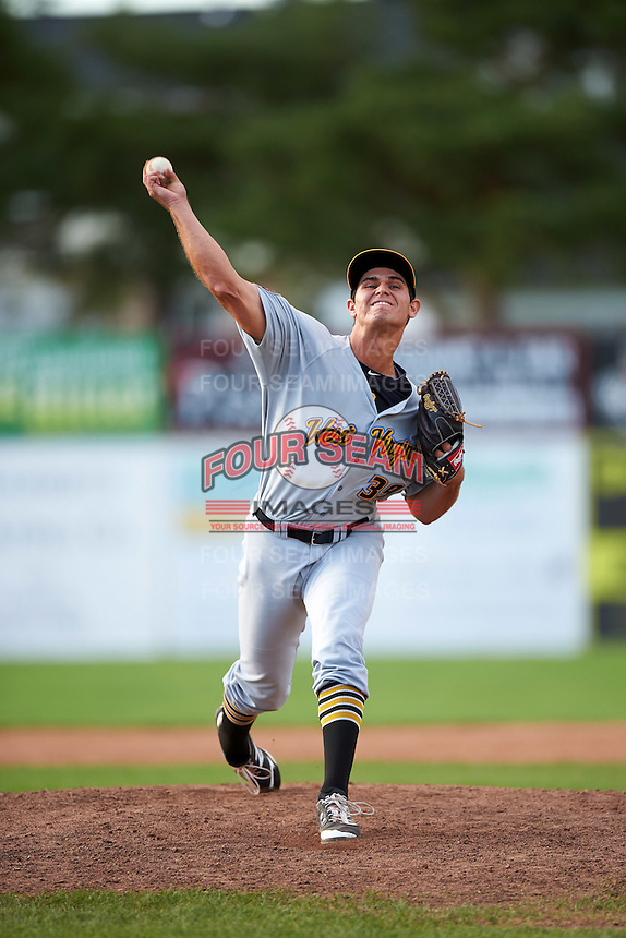 West Virginia Black Bears relief pitcher Billy Roth (39) during a game against the Batavia Muckdogs on August 21, 2016 at Dwyer Stadium in Batavia, New York.  West Virginia defeated Batavia 6-5.  (Mike Janes/Four Seam Images)