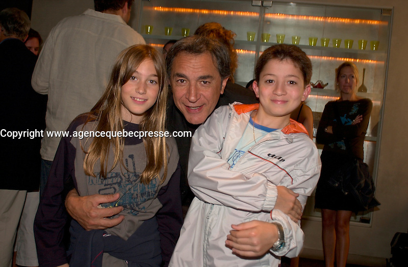 August 28,  2003, Montreal, Quebec, Canada<br /> <br /> Josephine Berry, actress (L), Richard Berry, Film maker (M) Jules Sitruc (R), actor of the movie<br /> MOI, CESAR 10 ANS 10 1/2 1m 39<br /> poswe for a photo<br /> <br /> August 28,2003<br /> <br /> <br /> <br /> <br /> <br /> The Festival runs from August 27th to september 7th, 2003<br /> <br /> <br /> Mandatory Credit: Photo by Pierre Roussel- Images Distribution. (&copy;) Copyright 2003 by Pierre Roussel <br /> <br /> All Photos are on www.photoreflect.com, filed by date and events. For private and media sales