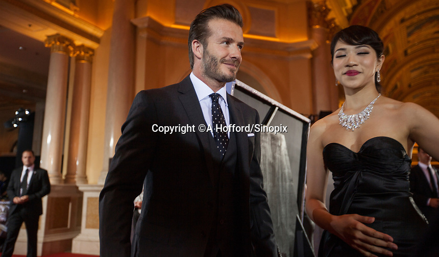 British footballer David Beckham is seen on the red carpet at the 18th Channel [V] China Music Awards and Asian Influential Power Grand Ceremony at the Venetian Macau Casino in Macau, China, 23 April 2014