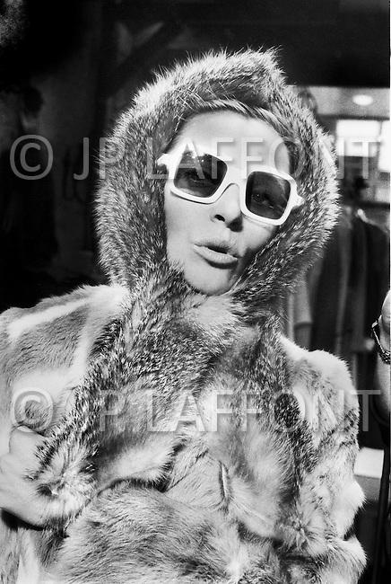 New York City. October, 1966. Eliane Laffont wearing a fur coat designed by Emanuelle Khan.