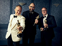 Oscar® winners Jonas Rivera, Josh Cooley and Ed Nielsen during the 92nd Oscars® on Sunday, February 9, 2020 at the Dolby Theatre® in Hollywood, CA, televised live by the ABC Television Network.<br /> *Editorial Use Only*<br /> CAP/AMPAS<br /> Supplied by Capital Pictures