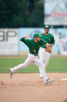 Beloit Snappers shortstop Nick Allen (2) throws to first base during a game against the Dayton Dragons on July 22, 2018 at Pohlman Field in Beloit, Wisconsin.  Dayton defeated Beloit 2-1.  (Mike Janes/Four Seam Images)