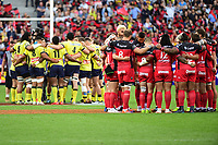 Both sides stand for a minute of silence in memory of the victims of the terrorist attack in London beforethe the Top 14 Final between RC Toulon and Clermont Auvergne  at Stade de France on June 4, 2017 in Paris, France. (Photo by Dave Winter/Icon Sport)