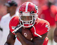 ATHENS, GA - SEPTEMBER 7: Zamir White #3 during a game between Murray State Racers and University of Georgia Bulldogs at Sanford Stadium on September 7, 2019 in Athens, Georgia.