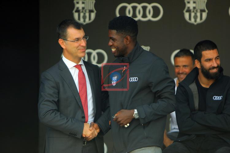 AUDI Premium Partner del FC Barcelona.<br /> Guillermo Fadda &amp; Samuel Umtiti.
