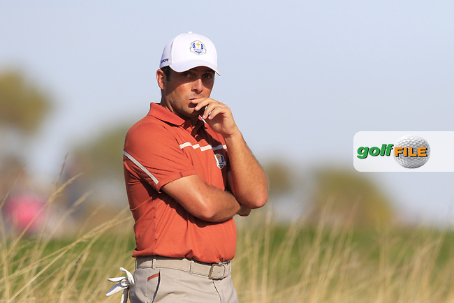 Francesco Molinari (Team Europe) waits on the 10th hole during Saturday's Foursomes Matches at the 2018 Ryder Cup 2018, Le Golf National, Ile-de-France, France. 29/09/2018.<br /> Picture Eoin Clarke / Golffile.ie<br /> <br /> All photo usage must carry mandatory copyright credit (© Golffile | Eoin Clarke)