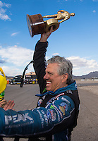 Oct 30, 2016; Las Vegas, NV, USA; NHRA funny car driver John Force celebrates after winning the Toyota Nationals at The Strip at Las Vegas Motor Speedway. Mandatory Credit: Mark J. Rebilas-USA TODAY Sports