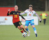 20161023 - TUBIZE , BELGIUM : Belgian Elien Van Wynendaele (L) and Russian Elena Terekhova (R) pictured during a friendly game between the women teams of the Belgian Red Flames and Russia at complex Euro 2000 in Tubize , Sunday 23 October 2016 ,  PHOTO Dirk Vuylsteke | Sportpix.Be