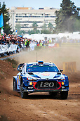 5th October 2017, Costa Daurada, Salou, Spain; FIA World Rally Championship, RallyRACC Catalunya, Spanish Rally; Thierry Neuville and his co-driver Nicolas Gilsoul of Belgium compete in their Hyundai Motorsport I20 Coupe WRC during the shakedown