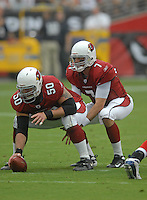 Aug 18, 2007; Glendale, AZ, USA; Arizona Cardinals quarterback Matt Leinart (7) takes the snap from center Al Johnson (50) against the Houston Texans at University of Phoenix Stadium. Mandatory Credit: Mark J. Rebilas-US PRESSWIRE Copyright © 2007 Mark J. Rebilas