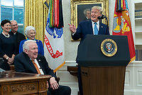 United States President Donald J. President Donald J. Trump, right, makes remarks as he presents the Presidential Medal of Freedom to former US Attorney General Edwin Meese, left, at the White House in Washington, DC, October 8, 2019. Meese served from 1985 to 1988 under US President Ronald Reagan. Credit: Chris Kleponis / Pool via CNP /MediaPunch
