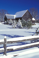 farm, winter, frozen pond, Calais, Vermont, VT, Snow-covered evergreens along a split-rail fence on a farm on a sunny day in winter in Calais.
