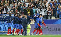 Celebratration with the bench following Ousmane Dembele (Dortmund) of France winning goal during the International Friendly match between France and England at Stade de France, Paris, France on 13 June 2017. Photo by David Horn/PRiME Media Images.