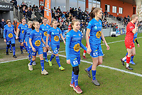 20200126 - OOSTAKKER , BELGIUM : The teams of KAA Gent and Standard CL entering the field before the semi final of Belgian cup 2020 , a womensoccer game between KAA Gent Ladies and Standard Femina de Liege  , at the PGB stadion in Oostakker , sunday 26 th January 2020 . PHOTO SPORTPIX.BE | STIJN AUDOOREN