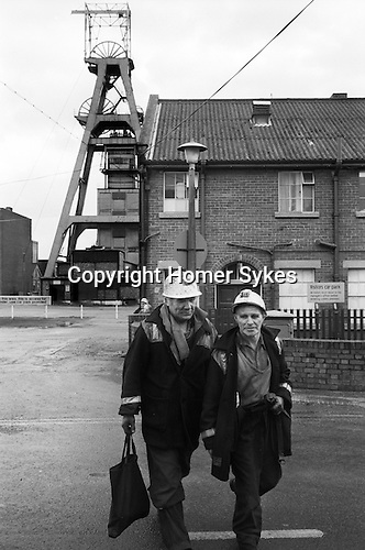Snowdown Colliery Kent. Miners coing off shift work. Pit head. 1970s UK<br />
