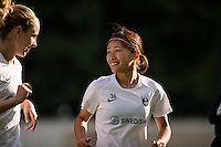 Seattle, Washington - Saturday, July 2nd, 2016: Seattle Reign FC forward Nahomi Kawasumi (36) prior to a regular season National Women's Soccer League (NWSL) match between the Seattle Reign FC and the Boston Breakers at Memorial Stadium. Seattle won 2-0.