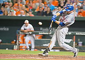 New York Mets first baseman Lucas Duda (21) doubles in the eighth inning against the Baltimore Orioles at Oriole Park at Camden Yards in Baltimore, Maryland on Wednesday, August 19, 2015.  The Orioles won the game 5 - 4.<br /> Credit: Ron Sachs / CNP<br /> (RESTRICTION: NO New York or New Jersey Newspapers or newspapers within a 75 mile radius of New York City)