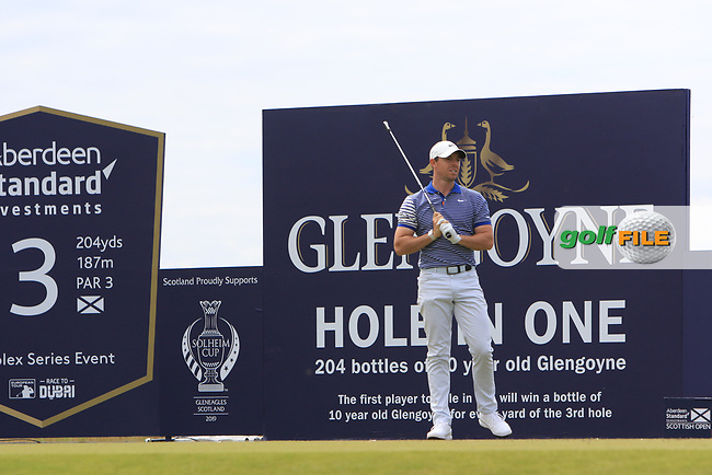 Rory McIlroy (NIR) on the 3rd during Round 4 of the Aberdeen Standard Investments Scottish Open 2019 at The Renaissance Club, North Berwick, Scotland on Sunday 14th July 2019.<br /> Picture:  Thos Caffrey / Golffile<br /> <br /> All photos usage must carry mandatory copyright credit (© Golffile | Thos Caffrey)