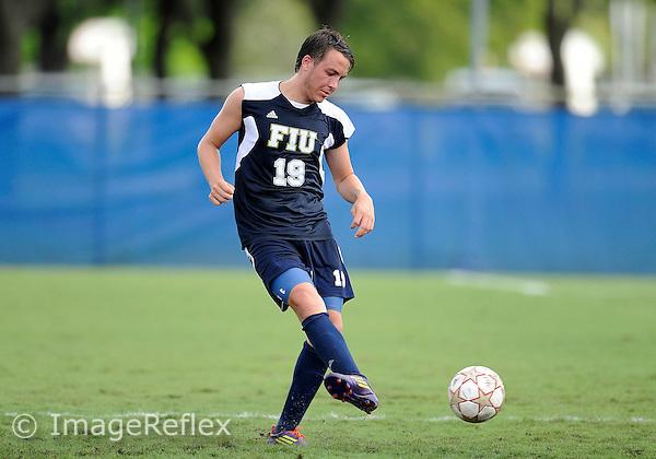 Florida International University men's soccer player Arnthor Kristinsson (19) plays against Stetson University on September 10, 2011 at Miami, Florida.  FIU won the game in overtime 3-2. .
