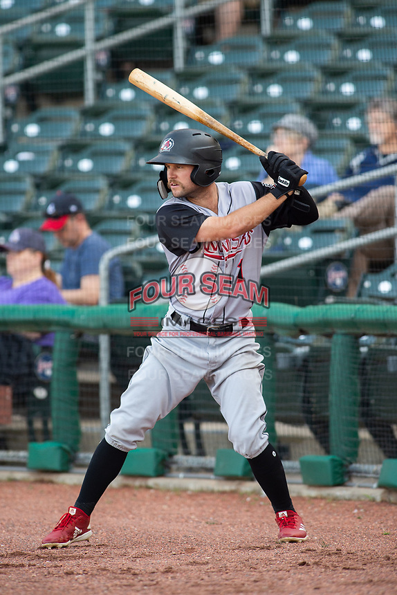 Arkansas Travelers outfielder Aaron Knapp (1) waits in the on-deck circle during a Texas League game between the Northwest Arkansas Naturals and the Arkansas Travelers on May 30, 2019 at Arvest Ballpark in Springdale, Arkansas. (Jason Ivester/Four Seam Images)