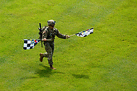 Verizon IndyCar Series<br /> Indianapolis 500 Race<br /> Indianapolis Motor Speedway, Indianapolis, IN USA<br /> Sunday 28 May 2017<br /> Army Ranger delivers the checkered flags for the race.<br /> World Copyright: F. Peirce Williams<br /> LAT Images