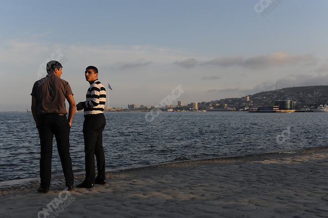 Downtown Baku along the shore of the Caspian sea, Azerbaijan, May 16, 2011