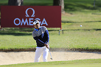 Siddikur Rahman (BAN) chips from a bunker at the 1st green during Thursday's Round 1 of the 2017 Omega European Masters held at Golf Club Crans-Sur-Sierre, Crans Montana, Switzerland. 7th September 2017.<br /> Picture: Eoin Clarke | Golffile<br /> <br /> <br /> All photos usage must carry mandatory copyright credit (&copy; Golffile | Eoin Clarke)