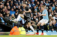 Burnley's Stephen Ward controls under pressure from Manchester City's Kevin De Bruyne<br /> <br /> Photographer Rich Linley/CameraSport<br /> <br /> Emirates FA Cup Fourth Round - Manchester City v Burnley - Saturday 26th January 2019 - The Etihad - Manchester<br />  <br /> World Copyright © 2019 CameraSport. All rights reserved. 43 Linden Ave. Countesthorpe. Leicester. England. LE8 5PG - Tel: +44 (0) 116 277 4147 - admin@camerasport.com - www.camerasport.com