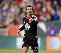 Chris Pontius (13) of D.C. United celebrates a goal during the game at RFK Stadium in Washington, DC.  D.C. United defeated Chivas USA, 1-0.