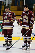 Matt Price (BC - 25), Matt Lombardi (BC - 24) - The Merrimack College Warriors defeated the Boston College Eagles 5-3 on Sunday, November 1, 2009, at Lawler Arena in North Andover, Massachusetts splitting the weekend series.