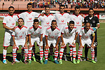 Palestinian players of Shabab Khan Younis football club poses for a photo before their match with Hilal al-Quds football club during the first leg football match of the Palestine Cup final at the Palestine Stadium in Gaza City on June 20, 2018. Photo by Mahmoud Ajour
