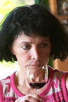 Marlène Soria Domaine Peyre Rose, St Pargoire. Gres de Montpellier. Languedoc. Owner winemaker. Tasting wine. France. Europe.