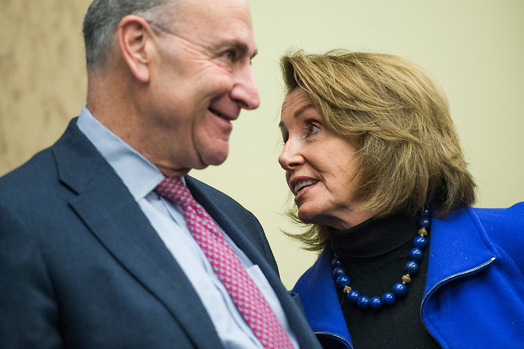 UNITED STATES - MARCH 14: Senate Minority Leader Charles Schumer, D-N.Y., and House Minority Leader Nancy Pelosi, D-Calif., attend a news conference in the Capitol Visitor Center to voice opposition to House Republican's health care plan, the American Health Care Act, March 14, 2017. The event featured testimony from patients and doctors who benefit from the Affordable Care Act. (Photo By Tom Williams/CQ Roll Call)
