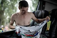 Daryl Impey (ZAF/Mitchelton-Scott) prepping for a hard race ahead<br /> <br /> Stage 6: Mulhouse to La Planche des Belles Filles (157km)<br /> 106th Tour de France 2019 (2.UWT)<br /> <br /> ©kramon