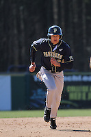 University of Pittsburgh outfielder Boo Vazquez #24 running the bases during a game against the Coastal Carolina University Chanticleers at Ticketreturn.com Field at Pelicans Ballpark on February 16, 2014 in Myrtle Beach, South Carolina. Pittsburgh defeated Coastal Carolina by the score of 10-6. (Robert Gurganus/Four Seam Images)