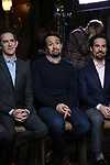 Andy Blankenbuehler, Lin-Manuel Miranda and Alex Lacamoire from the 'Hamilton' creative team during a CBS Morning News interview taping with John Dickerson at The Library of Congress on December 2, 2018 in Washington, D.C.