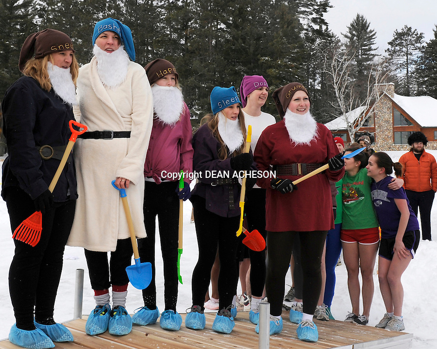 Six of the Snow White's dwarfs show up for the 14th annual Northwoods Original Polar Bear Plunge on Big St. Germain Lake in St. Germain, WI. The event was held to benefit the Angel on My Shoulder charity.