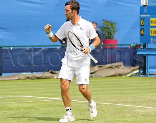 21.06.2016. Nottingham Tennis Centre, Nottingham, England. Aegon Open Mens ATP Tennis. Fist pump from Mikhail Kukushkin of Kazakhstan who won the first set but eventually out to Frank Dancevic of Canada 4-6 7-6 7-6