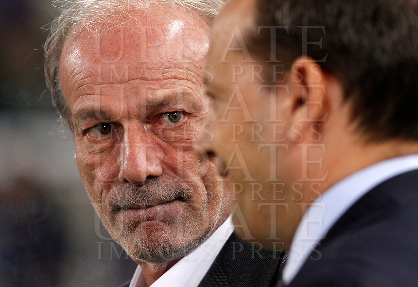 Calcio, Serie A: Roma vs Milan. Roma, stadio Olimpico, 25 aprile 2014.<br /> AS Roma's sporting director Walter Sabatini, left, looks at general director Mauro Baldissoni prior to the start of the Italian Serie A football match between AS Roma and AC Milan at Rome's Olympic stadium, 25 April 2014.<br /> UPDATE IMAGES PRESS/Riccardo De Luca