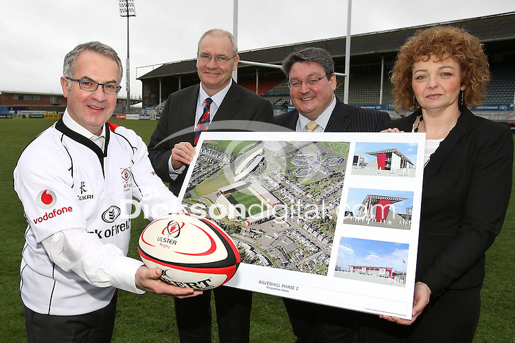 Tuesday 24th January 2012;  Alex Attwood, Department Of The Environment, Shane Logan CEO Ulster Rugby, Dominic Walsh Chairman of Sport NI, and Minister Carole Ni Churlin Deparlment Of Culture Arts at the launch of the final phase of redevelopment of the Ravenhill Stadium in Belfast.<br />