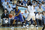 26 February 2012: Duke's Shay Selby (3) is guarded by North Carolina's She'la White (1). The Duke University Blue Devils defeated the University of North Carolina Tar Heels 69-63 at Carmichael Arena in Chapel Hill, North Carolina in an NCAA Division I Women's basketball game.