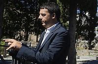 Roma 4 Settembre 2013<br /> Fori Imperiali<br /> Il sindaco di Roma Ignazio Marino e il sindaco di Firenze Matteo Renzi passeggiano neii Fori Imperiali circondati da giornalisti cameramen e fotografi