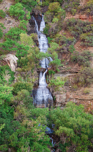 Waterfalls of Roaring Springs along the North Kaibab Trail in Grand Canyon