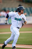 Lynchburg Hillcats second baseman Dillon Persinger (38) runs to first base after hitting a home run during the first game of a doubleheader against the Potomac Nationals on June 9, 2018 at Calvin Falwell Field in Lynchburg, Virginia.  Lynchburg defeated Potomac 5-3.  (Mike Janes/Four Seam Images)