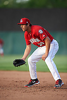 Auburn Doubledays first baseman Ryan Ripken (20) during a game against the Mahoning Valley Scrappers on June 19, 2016 at Falcon Park in Auburn, New York.  Mahoning Valley defeated Auburn 14-3.  (Mike Janes/Four Seam Images)