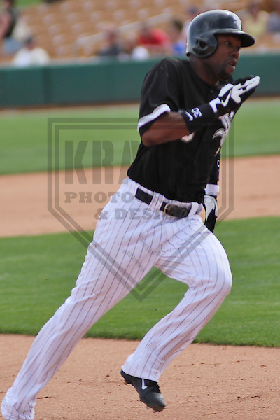 GLENDALE - March 2013: Alejandro De Aza (30)  of the Chicago White Sox during a Spring Training game against the Milwaukee Brewers on March 21, 2013 at Camelback Ranch in Glendale, Arizona.  (Photo by Brad Krause). .