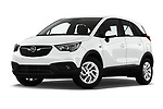Stock pictures of low aggressive front three quarter view of 2019 Opel Crossland-X Edition 5 Door SUV Low Aggressive