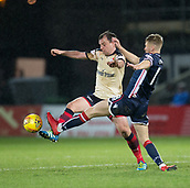 2nd December 2017, Global Energy Stadium, Dingwall, Scotland; Scottish Premiership football, Ross County versus Dundee; Dundee's Paul McGowan battles for the ball with Ross County's Jamie Lindsay