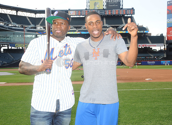 New York, NY- May 27:  Curtis &quot;50 Cent&quot; Jackson visits Citi Field on May 27, 2014 in support of his upcoming post-game concert at Citi-Field in Flushing, New York. <br /> Credit: John Palmer/MediaPunch<br /> New York, NY- May 27:  Curtis &quot;50 Cent&quot; Jackson gets together with NY Mets Outfielder Curtis Granderson on his visit to Citi Field on May 27, 2014 in support of his upcoming post-game concert at Citi-Field in Flushing, New York. <br /> Credit: John Palmer/MediaPunch